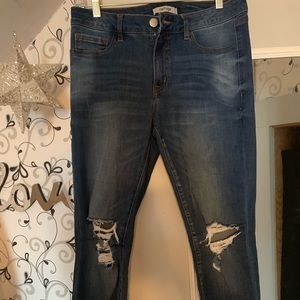 Charlotte Russe ripped, ankle length skinny jeans